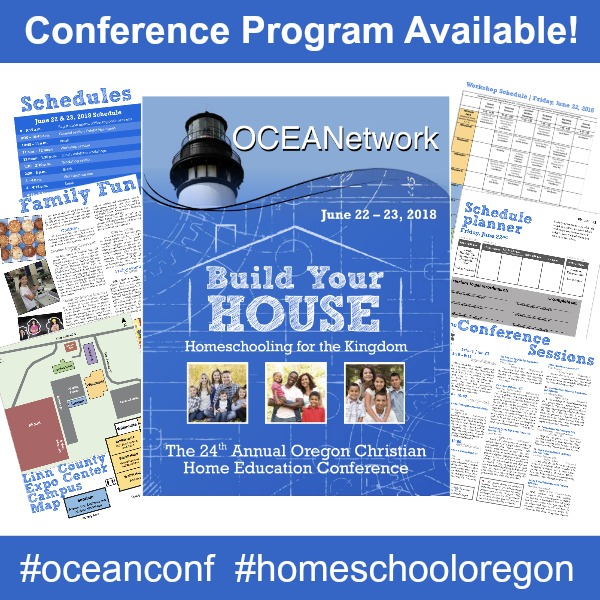 2018 Oregon Christian Home Education Conference program - OCEANetwork homeschooling in Oregon