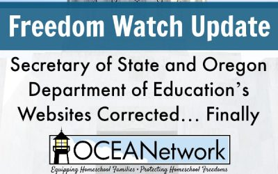 Freedom Watch Update: Secretary of State and Oregon Department of Education's Websites Corrected… Finally