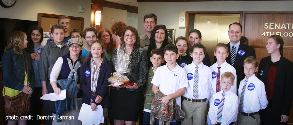 Senator Sarah Gelser and homeschool families from her district