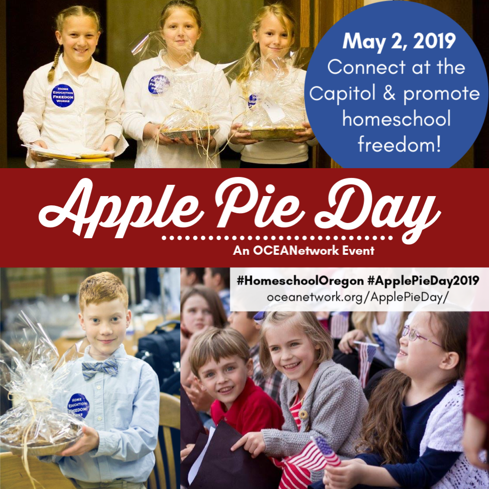 Apple Pie Day with OCEANetwork - Come connect with Oregon legislators and homeschoolers at the capitol to promote homeschool freedom! A great field trip in Salem for Oregon homeschoolers and one that helps us keep our freedom to homeschool!