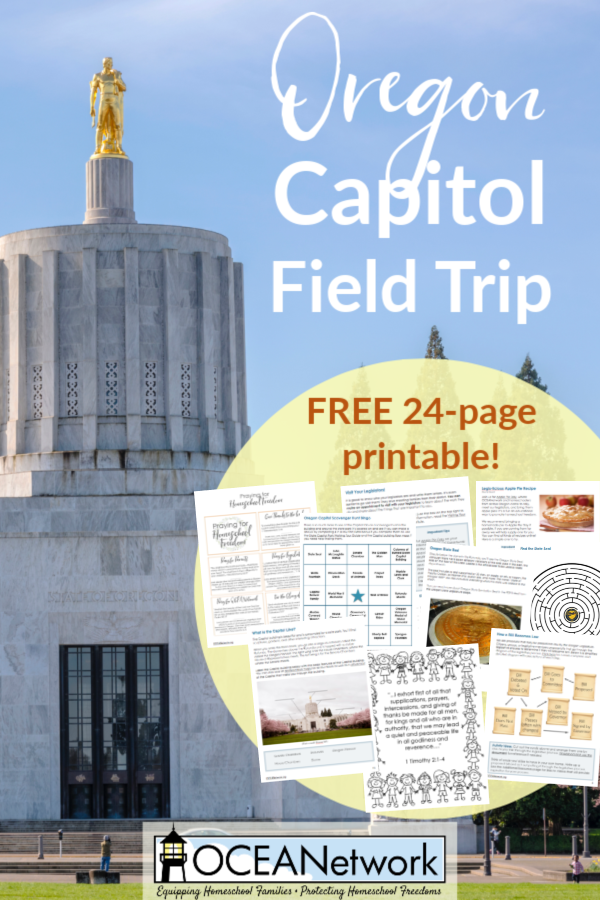 Go on a field trip with this Oregon Capitol Field Trip Printable! You'll learn about how a bill becomes a law, go on a Capitol scavenger hunt, write a letter to your legislators, and more! It can be used any time of year to visit the Oregon Capitol, but it's perfect to use during out bi-annual event, Apple Pie Day! The printable is FREE as a ministry of OCEANetwork.