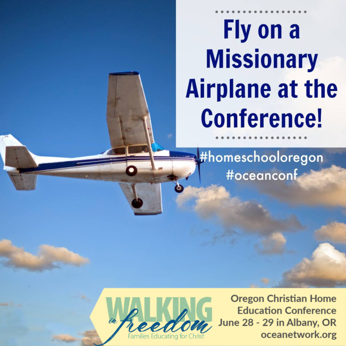 Join Mission Aviation Fellowship (MAF) at the Oregon Christian Home Education Conference June 28-29 for a fantastic opportunity to go on a missionary plane ride! OCEANetwork homeschool conference at oceanetwork.org