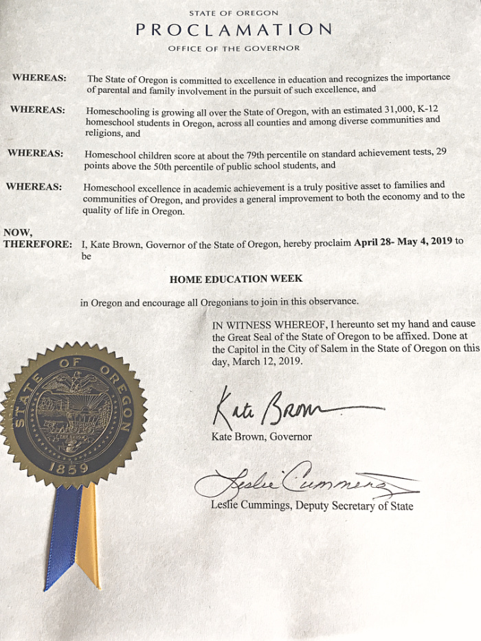 Home Education Week Oregon Governor Proclamation 2019