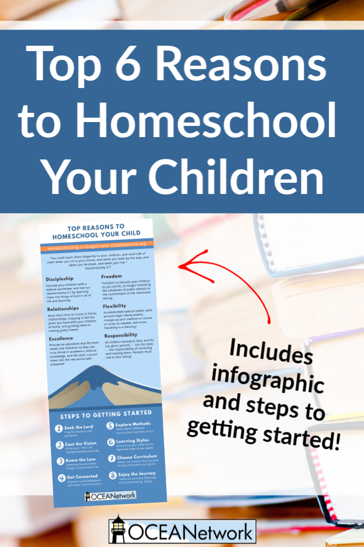 Getting started homeschooling in Oregon? Here are the top 6 reasons to homeschool your children, with an infographic and steps to getting started!
